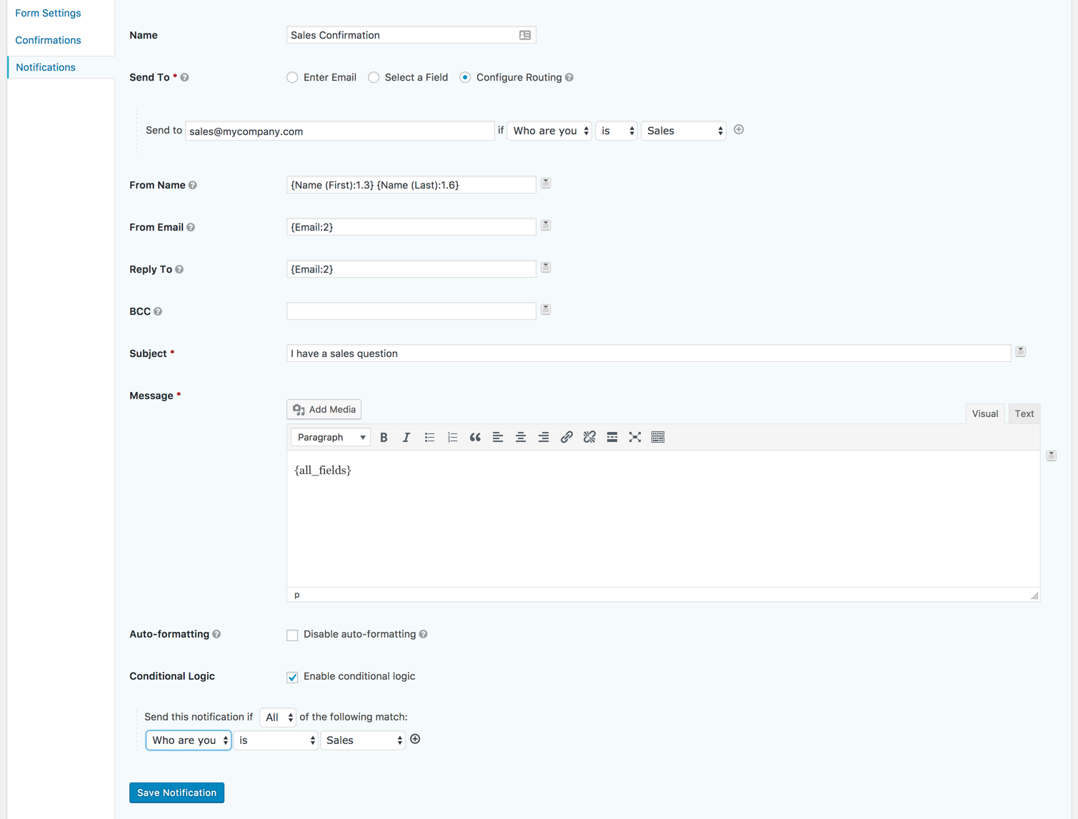 Comparing conditional logic in WordPress forms